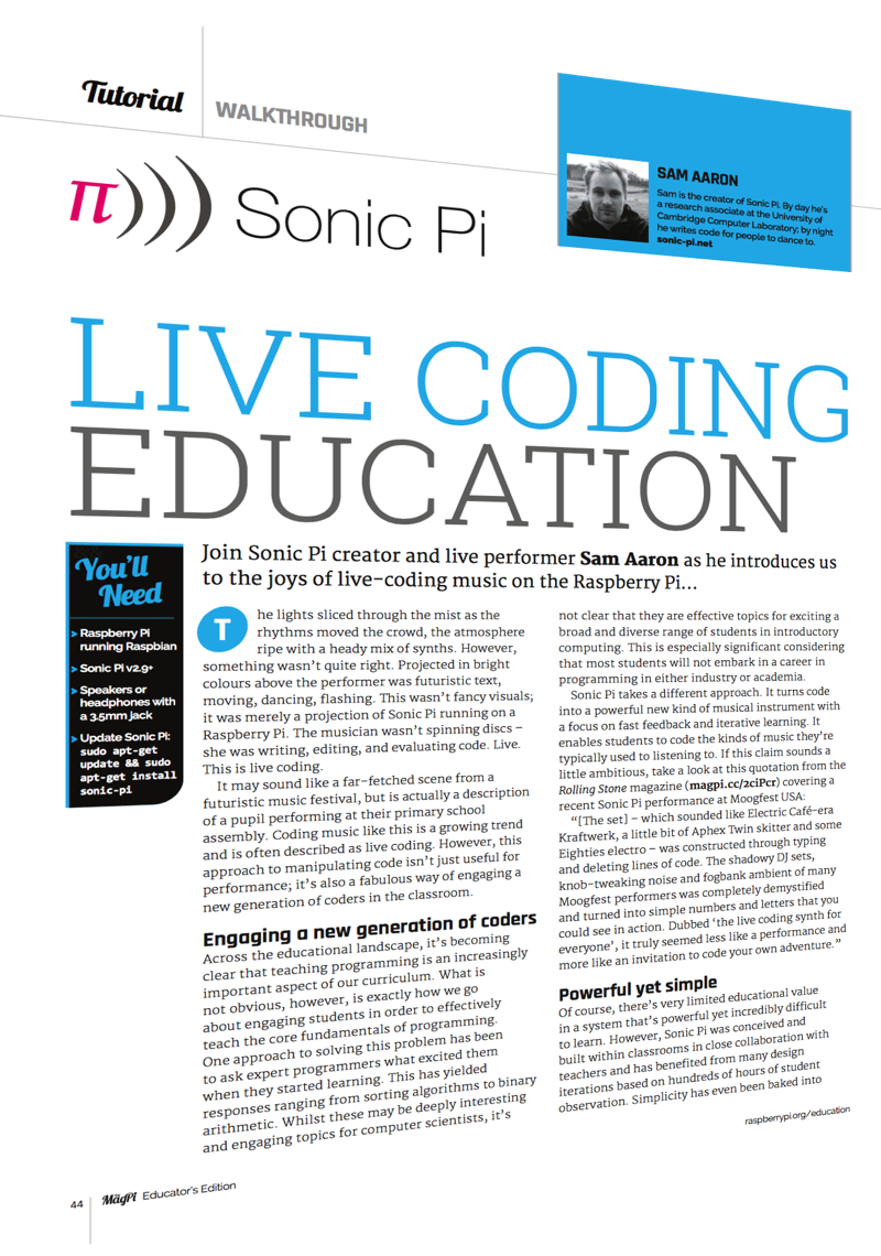 Sonic pi the live coding music synth for everyone sonic pi helps you engage students in computing through music read how in the article live coding education fandeluxe Choice Image